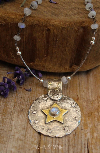 Silver and Gold Star Necklace with Rainbow Moonstones