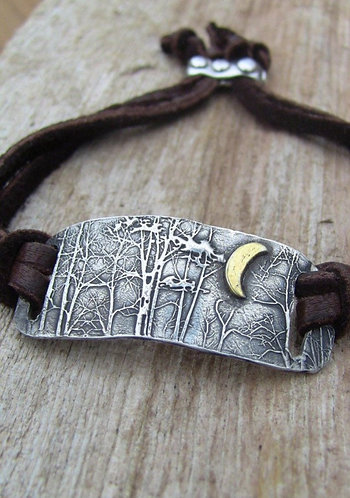 Sterling Silver and Gold Moon Enchanted Forest Leather Wrap Bracelet
