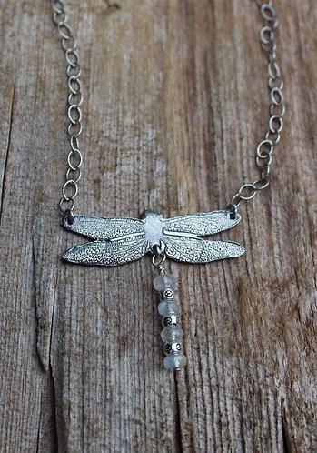 Sterling Silver Dragonfly Necklace with Rainbow Moonstones