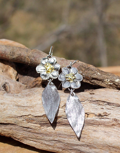 Sterling Silver and Gold Flower Drop Wedding Earrings