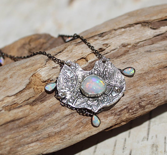 Sterling Silver Ethiopian Opal Moroccan Necklace