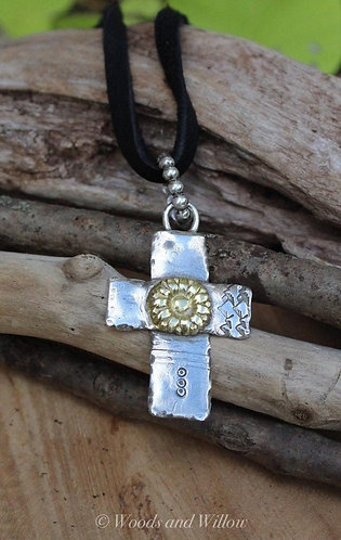 Sterling Silver Cross with Gold Daisy Necklace on Leather Cord