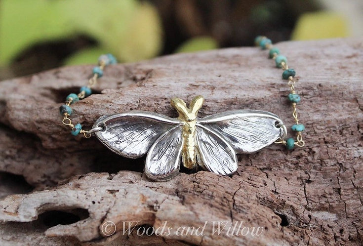 Sterling Silver and Gold Moth Necklace