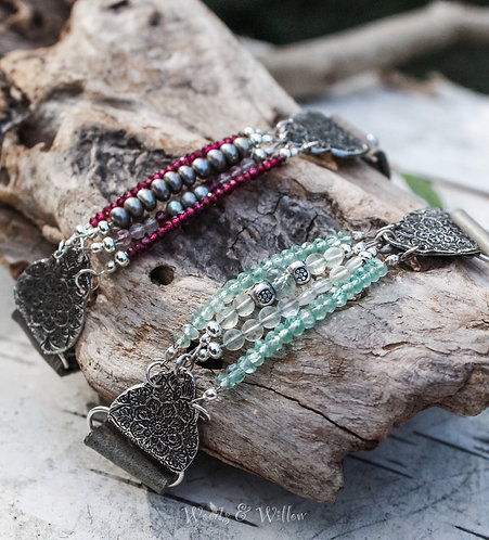 CHOICE OF Sterling Silver Moroccan Gemstone Bracelet in Green or Grey Leather