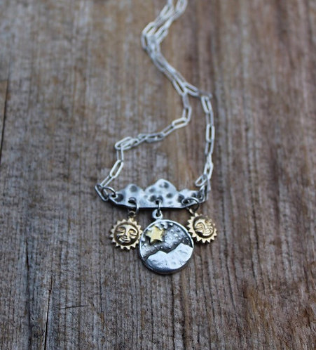 Sterling Silver and Gold One Day at a Time Necklace