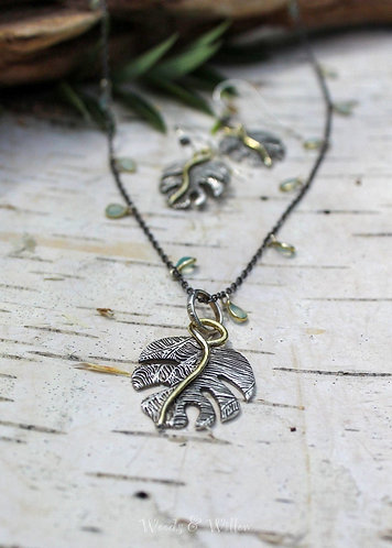 Sterling Silver and Gold Monstera Leaf Necklace on Chalcedony Chain