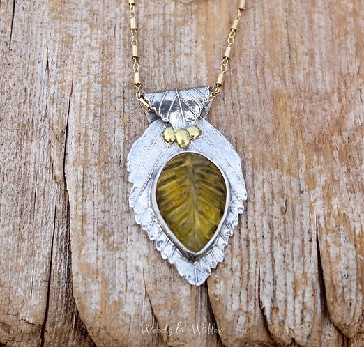 Sterling Silver Beech Leaf and Amber Necklace
