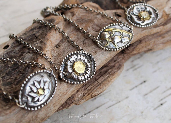 Sterling Silver and Gold Adjustable Birth Flower Bracelet