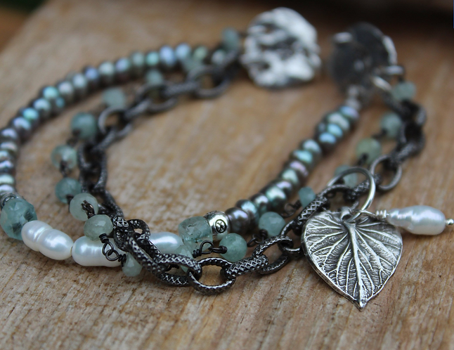 Aquamarine and Grey Pearl Angelica Leaf Charm Bracelet