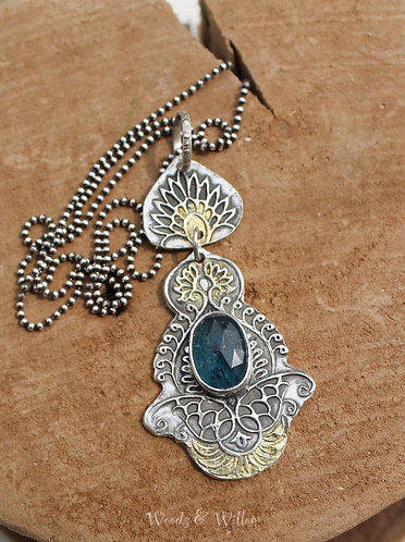 """Sterling Silver Moroccan Inspired Necklace with Moss Kyanite, """"Gypsy"""" Necklace"""