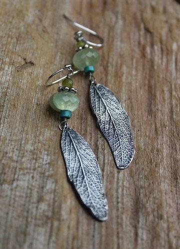 Sage Leaf Prehnite Earrings