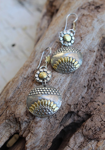 Sterling Silver and Gold Sunflower Sunrise Earrings