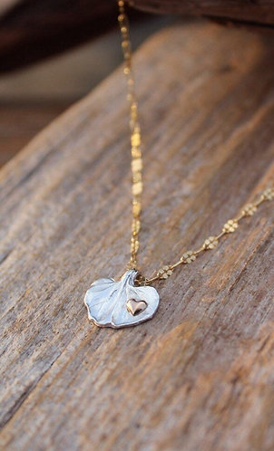 Petite Silver Dichondra Leaf Necklace with Gold Heart
