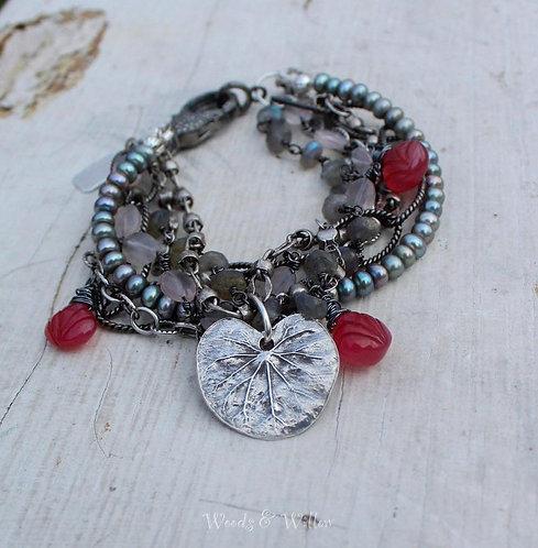 Sterling Silver Diamond Clasp Bracelet with Grey Pearls, Chalcedony, Rose Quartz
