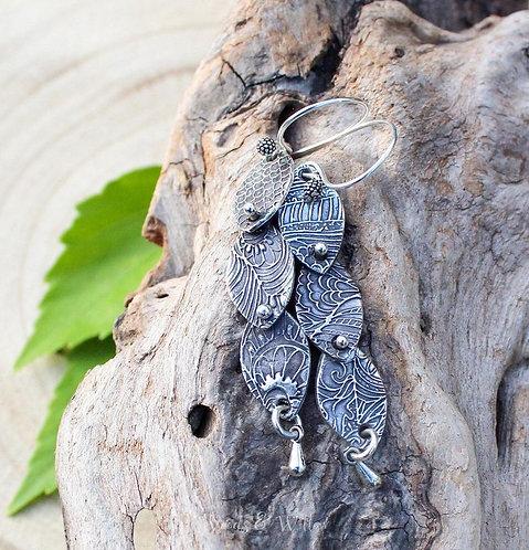 Sterling Silver Botanical Rivet Earrings