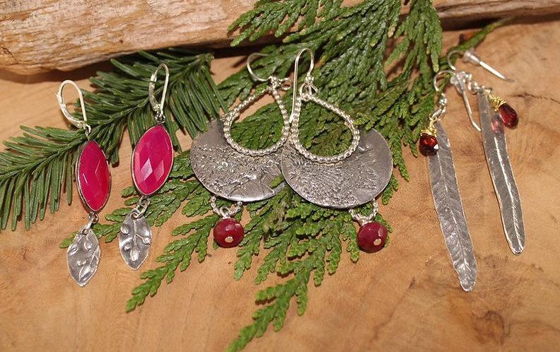 Silver Dangle Ruby Earrings