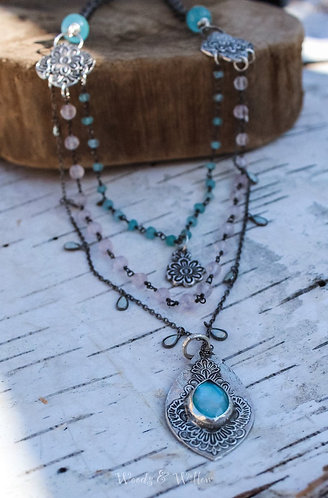 Silver Multi Strand Necklace with Turquoise, Aquamarines and Ethiopian Opals