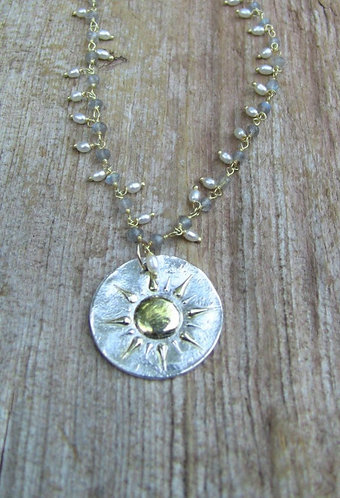 Sterling Silver Sunburst Necklace with Labradorite and Pearl Chain