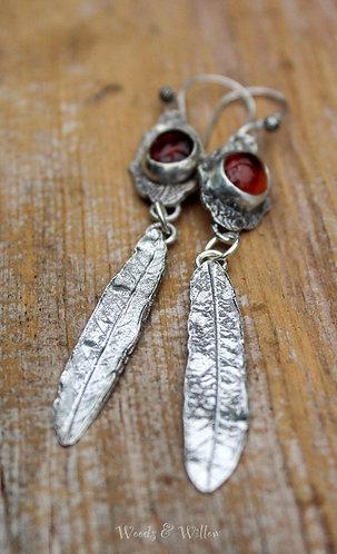 Sterling Silver Hessonite Garnet and Willow Leaf Earrings