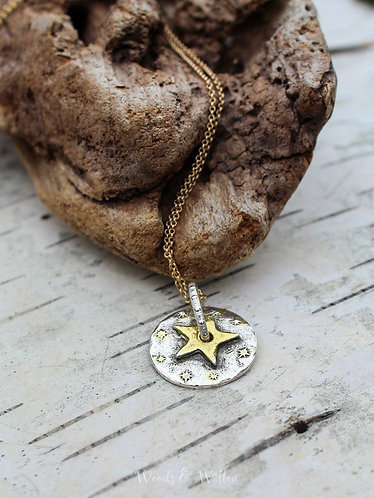 Sterling Silver and Gold Star Pivot Necklace