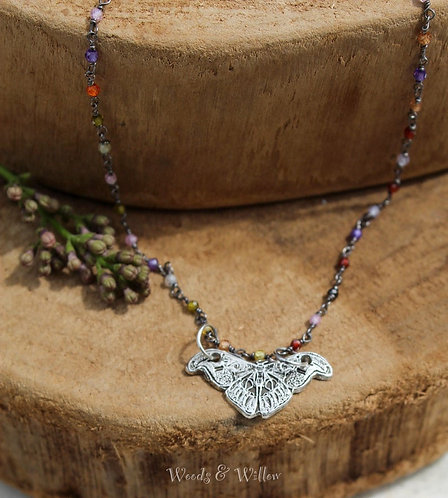 Sterling Silver Butterfly Necklace on Multi-Gemstone Chain