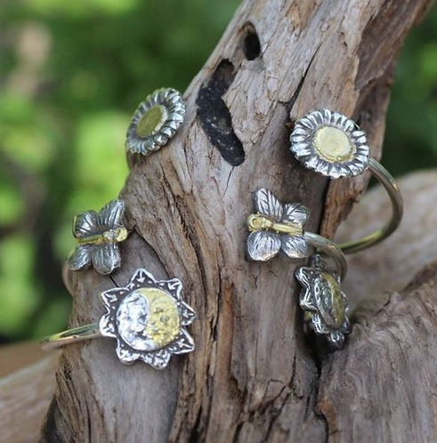 Secret Garden Sterling and Gold Cuff Bracelet