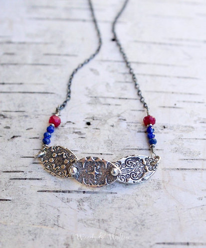 Sterling Silver Rivet Petal Necklace with Lapis and Garnet