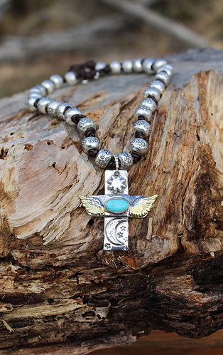 Sterling Silver & Gold Turquoise Cross Necklace with Hill Tribe Beads