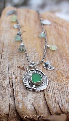 Sterling Silver Serpentine Leaf Necklace