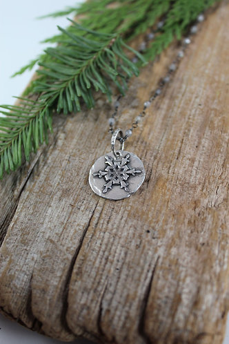 Sterling Silver Snowflake Necklace with Rainbow Moonstones