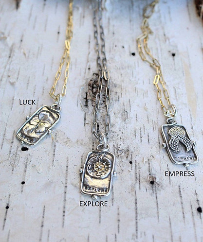 Silver and Gold Tarot Card Necklace