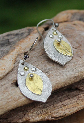 Sterling Silver and Gold Riveted Leaf Earrings