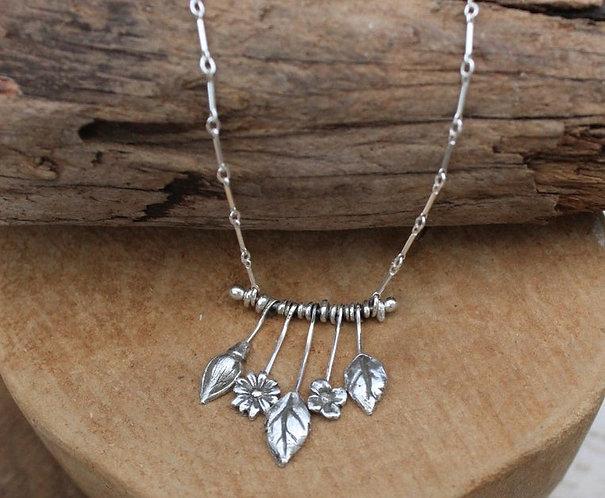 Sterling Silver Flower Stem Necklace