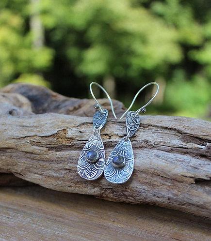 Sterling Silver Labradorite Teardrop Earrings