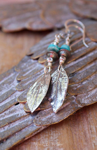 Sterling Silver Dogwood Leaf and Turquoise Earrings