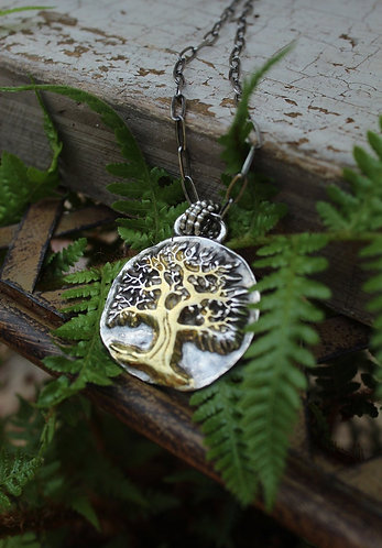 Sterling Silver and Gold  Majestic Tree of Life Necklace