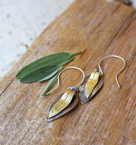 Sterling Silver and Gold Sage Earrings