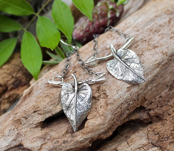 Sterling Silver Angelica Leaf and Branch Earrings
