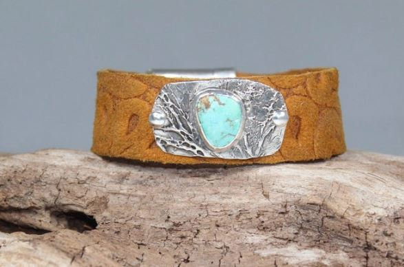 Silver Treetops and Turquoise Leather Bracelet