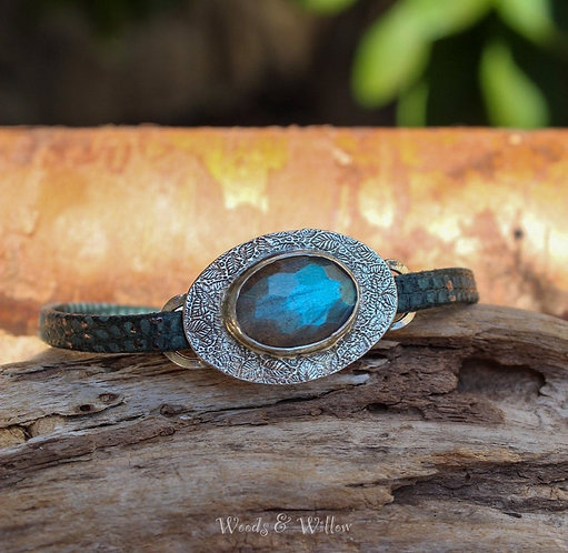 Sterling Silver Labradorite and Leather Bracelet