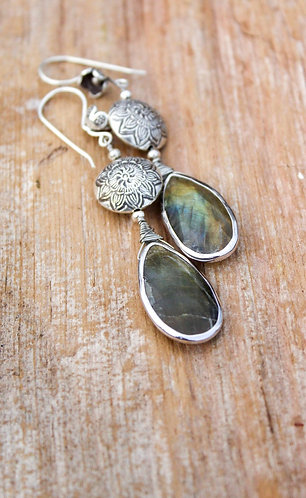 Labradorite Earrings, Artisan Earrings, Long Dangle Earrings, Drop Earrings, Flo