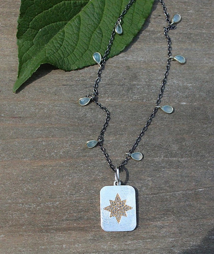 Sterling Silver and Gold North Star Diamond Necklace with Chalcedony Chain
