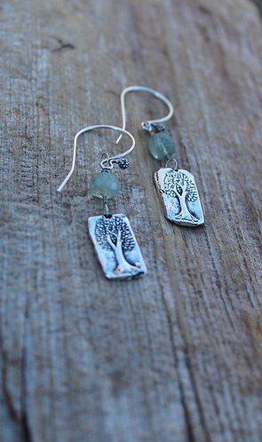 Sterling Silver Tree of Life Earrings with Aquamarine Stones