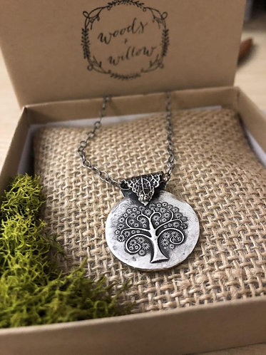 Sterling Silver Tree of Life Necklace with Mint Leaf Bail