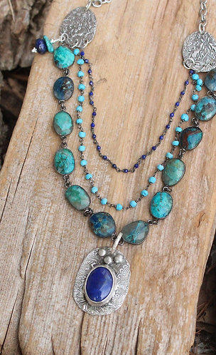 Azurite Malachite and Lapis Layered Necklace