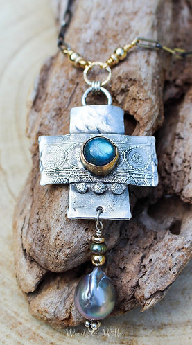 """""""Denise"""" Necklace, Sterling & Gold Cross with Labradorite and Grey Barouqe Pearl"""