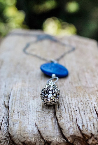 Carved Lapis Flower Necklace with Sterling Teardrop Charm