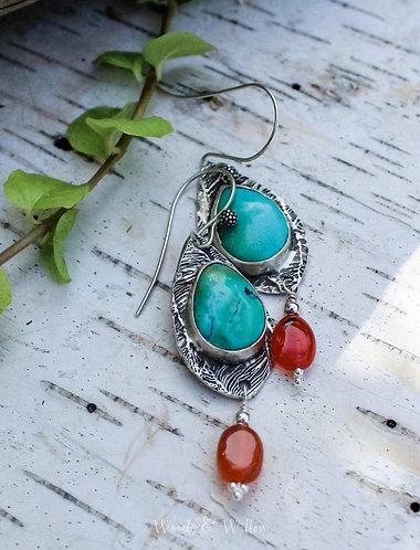 Sterling Silver Turquoise Drop Leaf Earrings with Carnelian
