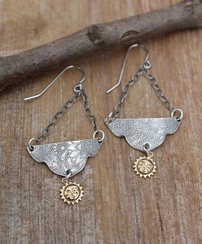 Sterling Silver Mandala Earrings with Gold Sunburst