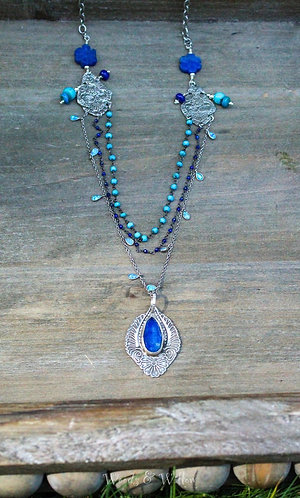 Sterling Silver Multi Strand Necklace with Lapis, Turquoise and Opal Stones